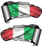 Small Pair Ripped Torn Metal Gash Design & Italian Il Tricolore Flag Vinyl Car Sticker 93x50mm each